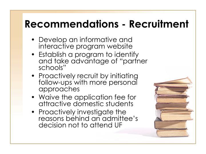 Recommendations - Recruitment