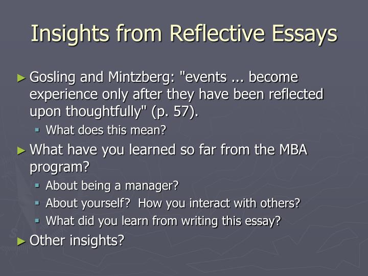 Insights from Reflective Essays
