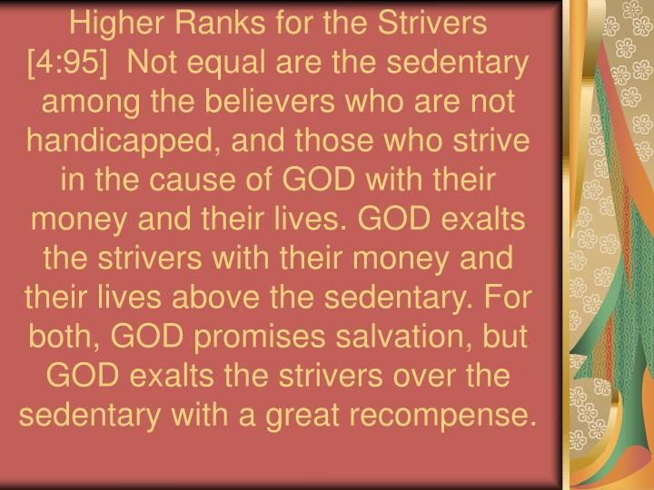Higher Ranks for the Strivers