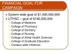 financial goal for campaign