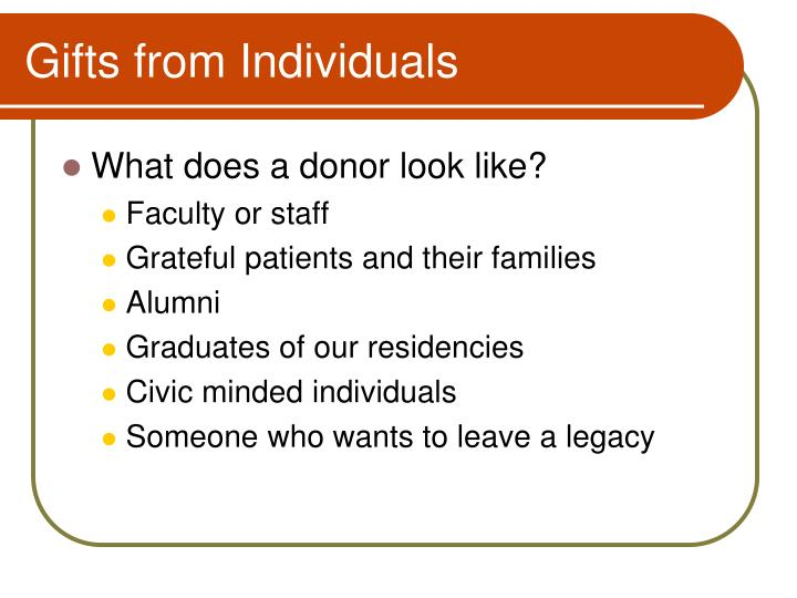 Gifts from Individuals