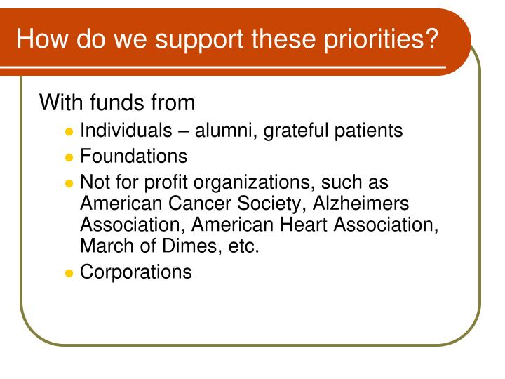 How do we support these priorities?