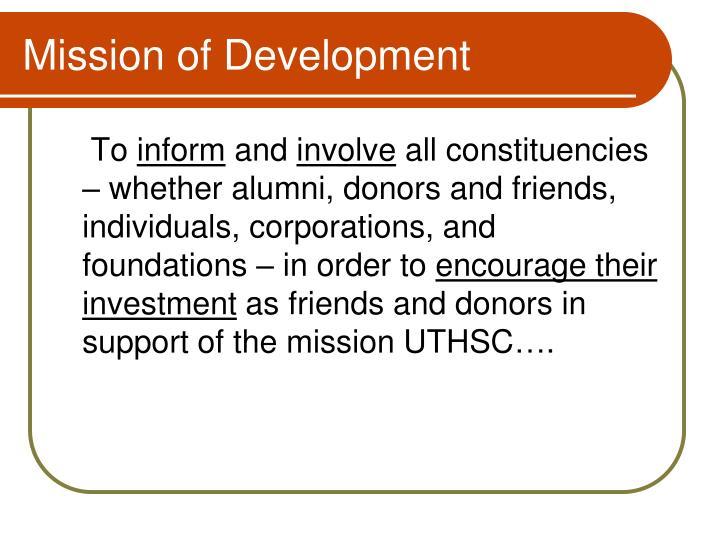 Mission of Development