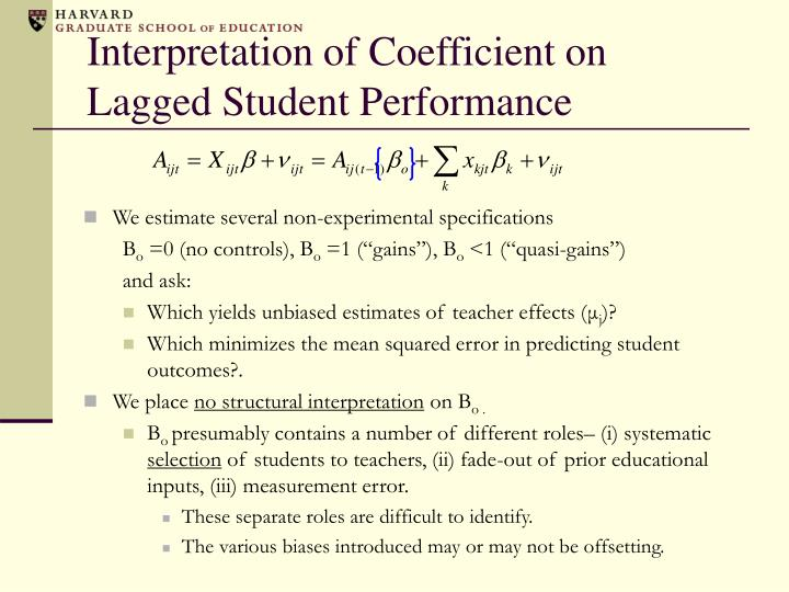Interpretation of Coefficient on Lagged Student Performance