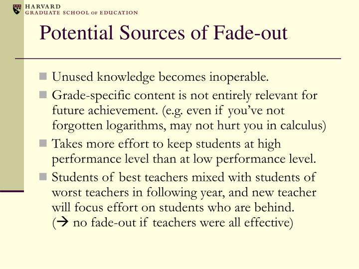Potential Sources of Fade-out