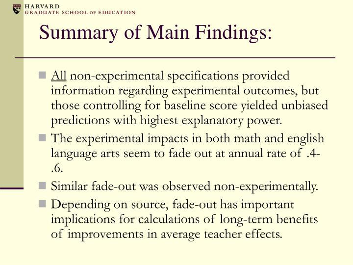 Summary of Main Findings: