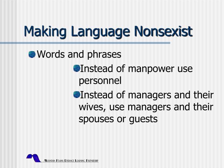 Making Language Nonsexist