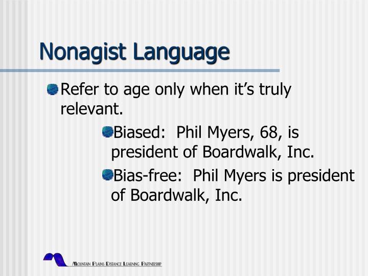 Nonagist Language