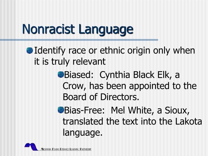 Nonracist Language