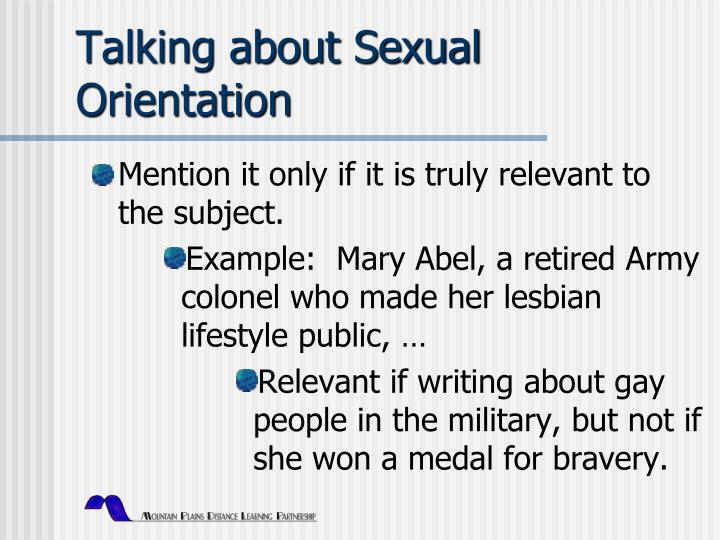 Talking about Sexual Orientation