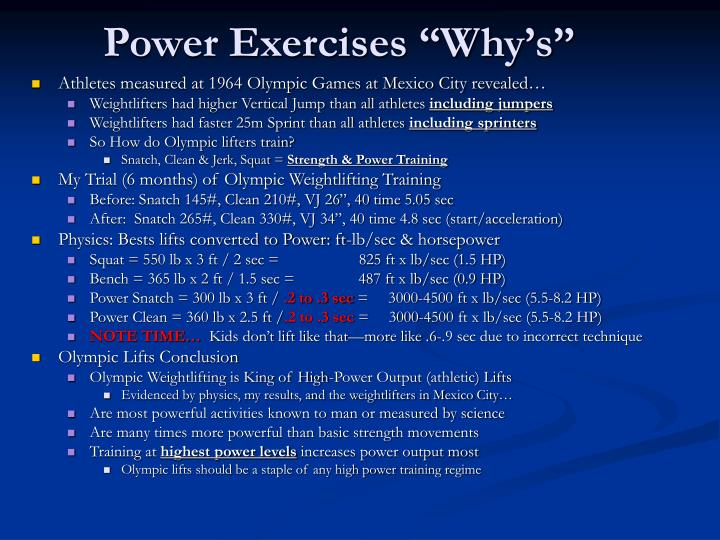Power exercises why s