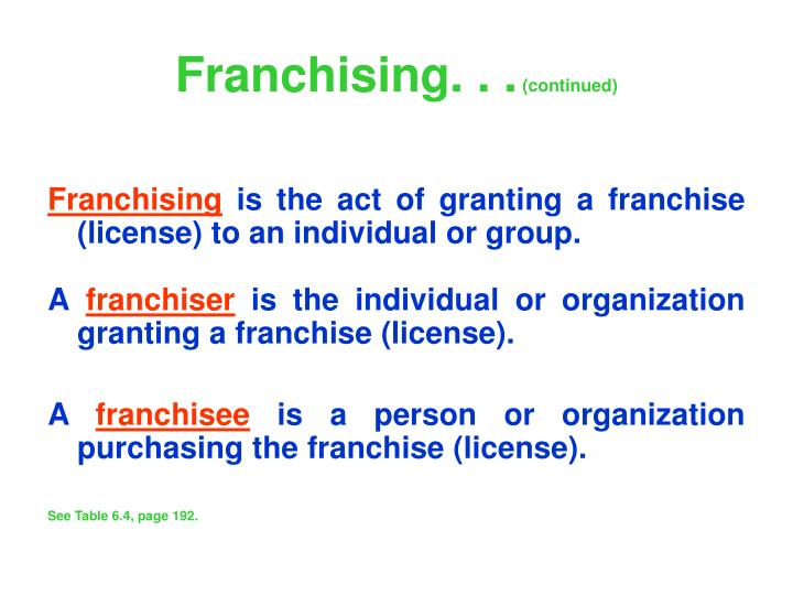 Franchising. . .