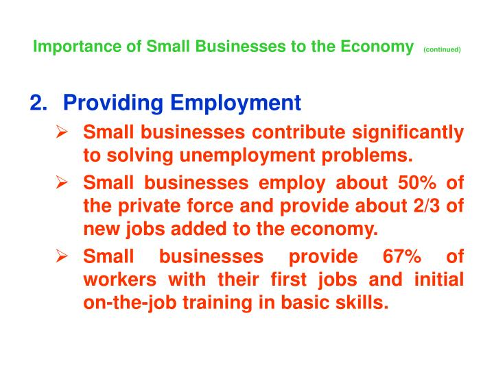 Importance of Small Businesses to the Economy