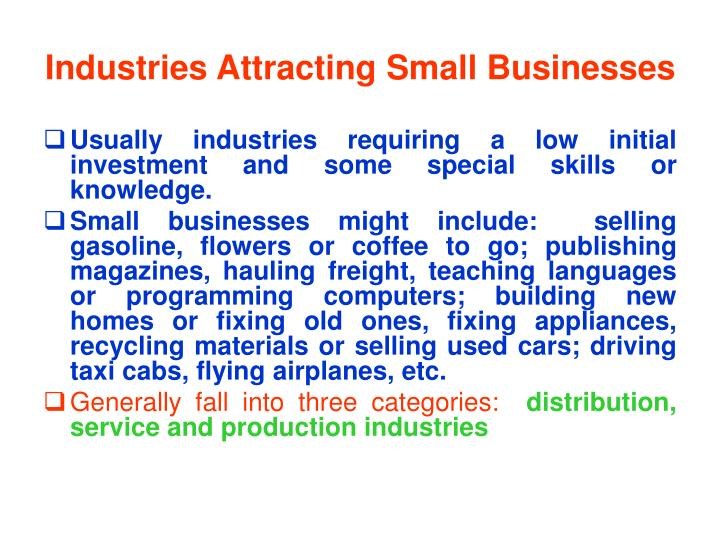 Industries Attracting Small Businesses