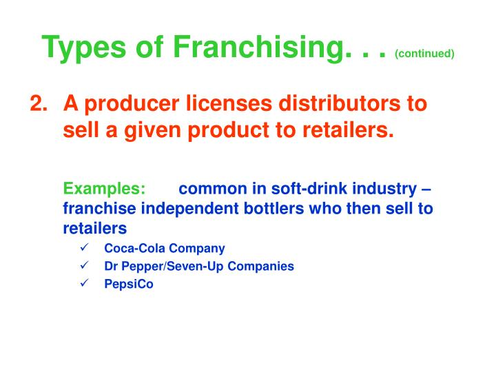 Types of Franchising. . .