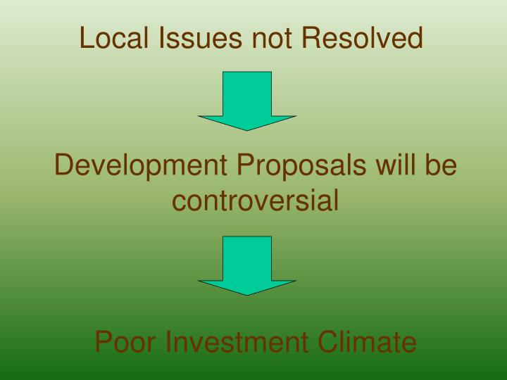 Local Issues not Resolved