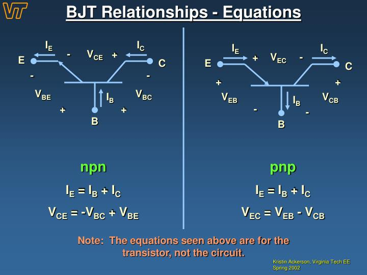 BJT Relationships - Equations