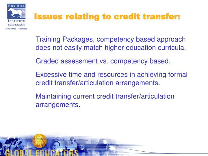 Issues relating to credit transfer: