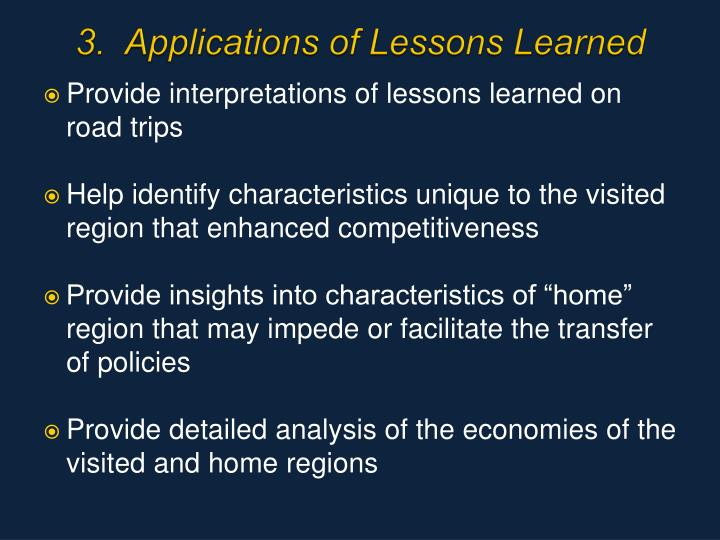 3.  Applications of Lessons Learned