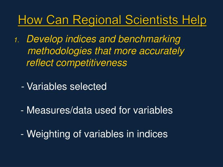 How Can Regional Scientists Help