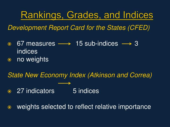Rankings, Grades, and Indices
