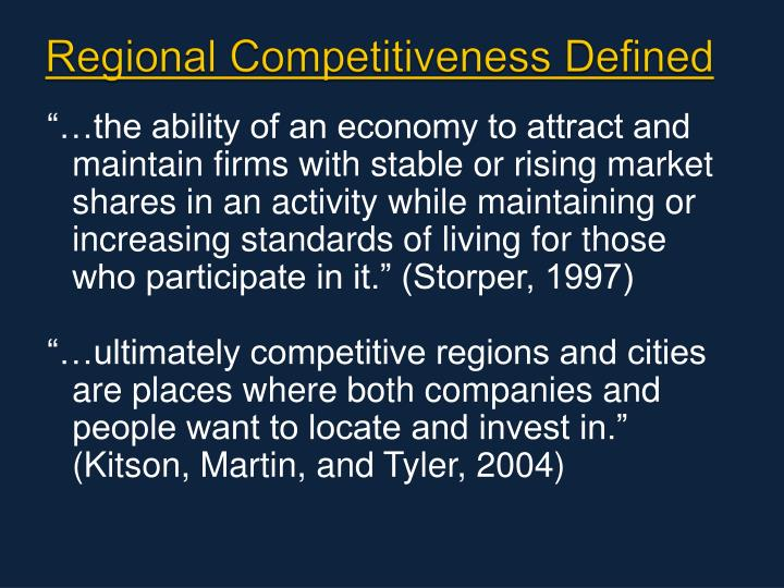 Regional Competitiveness Defined