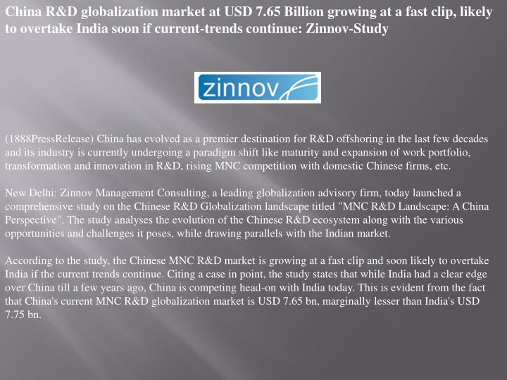 China R&D globalization market at USD 7.65 Billion growing at a fast clip, likely to overtake India ...
