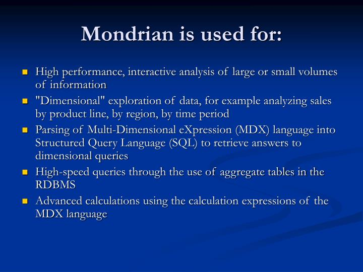 Mondrian is used for: