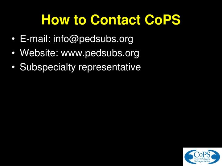 How to Contact CoPS