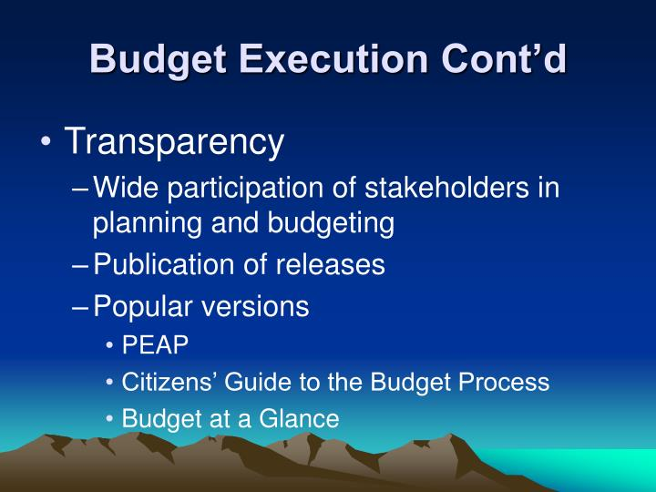 Budget Execution Cont'd