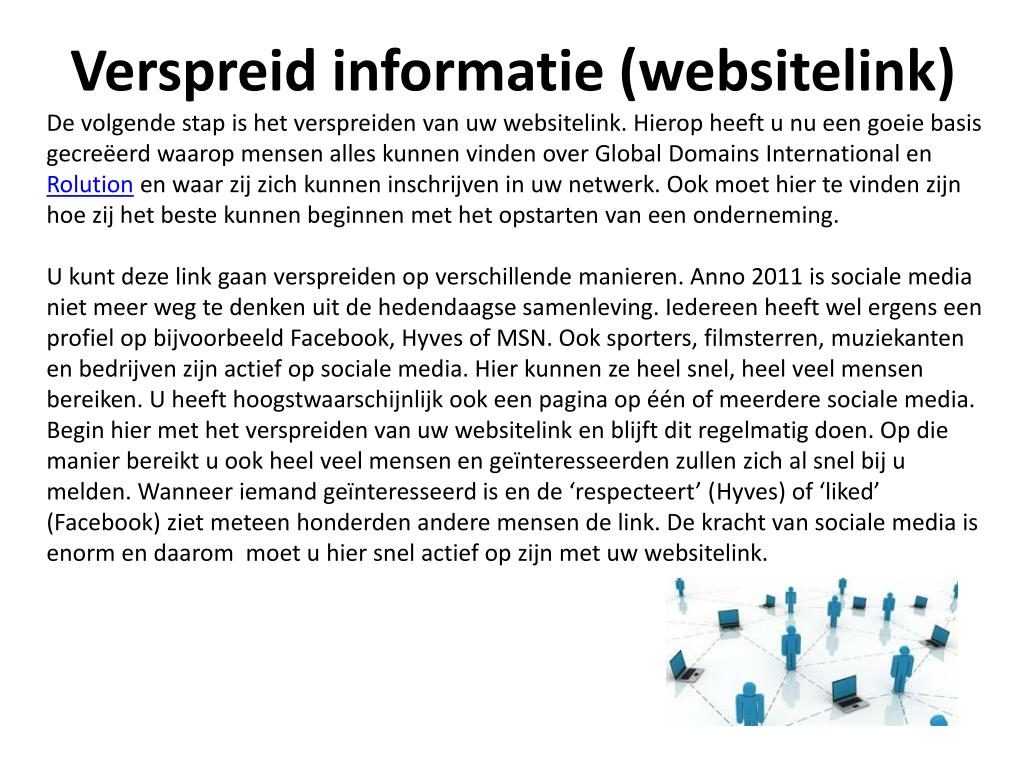 Verspreid informatie (websitelink