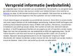 verspreid informatie websitelink