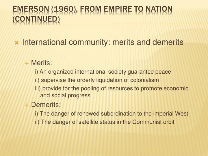 International community: merits and demerits