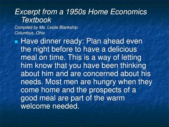 Excerpt from a 1950s Home Economics Textbook