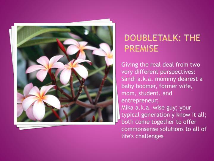 Doubletalk: the premise