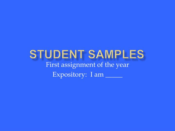 Student Samples