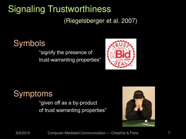 Signaling Trustworthiness