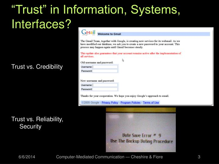 """""""Trust"""" in Information, Systems, Interfaces?"""