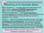 remaining in an apostate status
