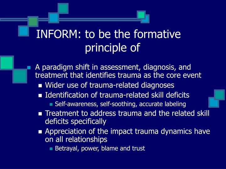 INFORM: to be the formative    principle of