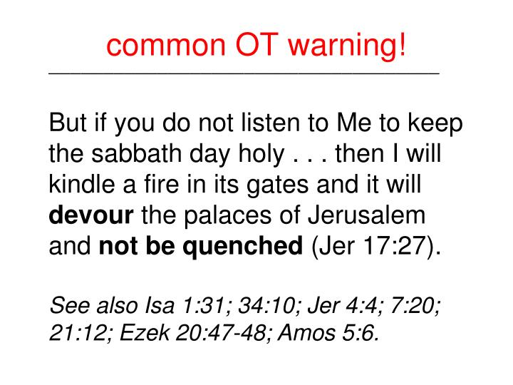 common OT warning!