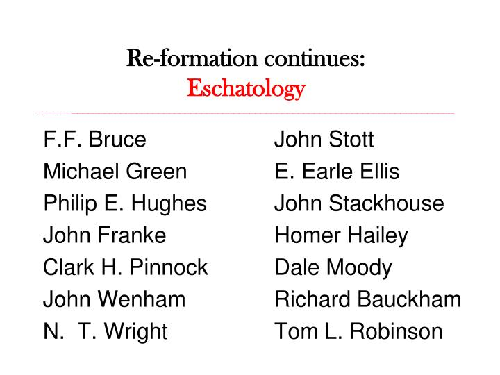 Re-formation continues: