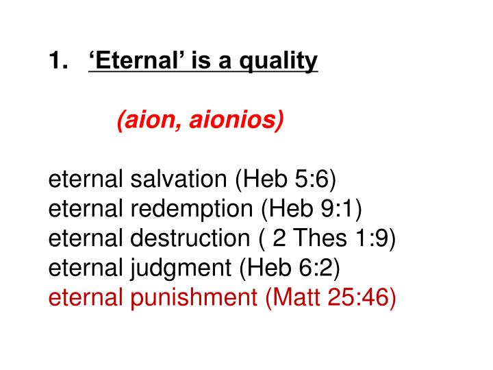 'Eternal' is a quality