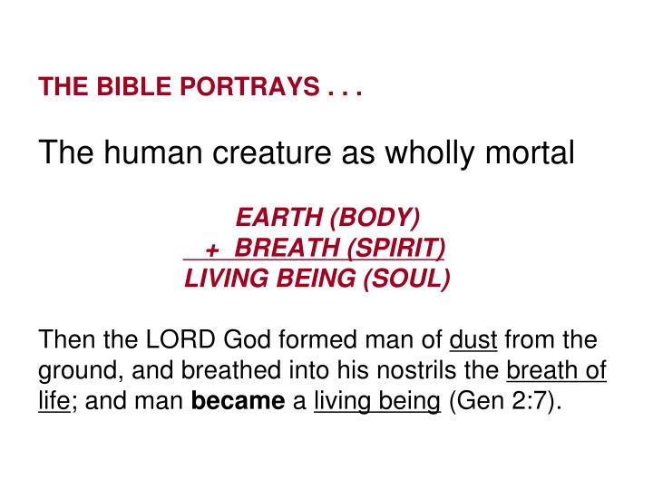 THE BIBLE PORTRAYS . . .