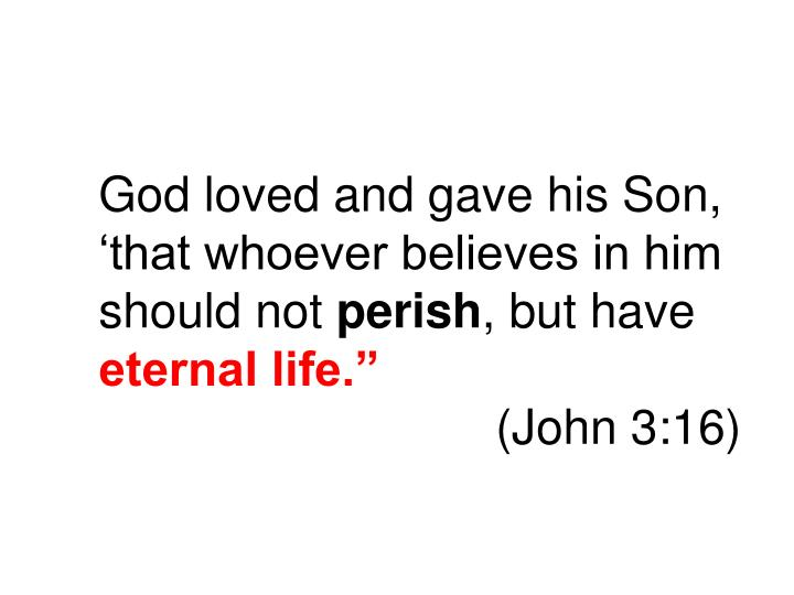 God loved and gave his Son, 'that whoever believes in him should not