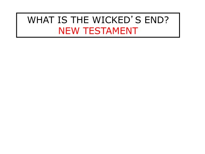 WHAT IS THE WICKED