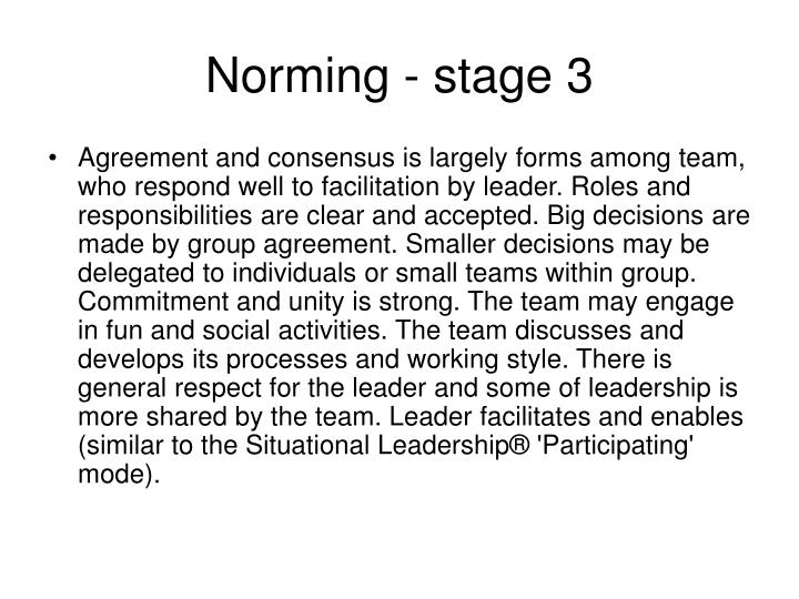 Norming - stage 3