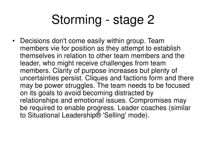 Storming - stage 2