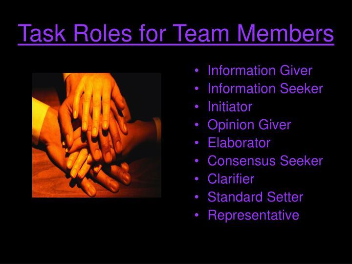 Task Roles for Team Members