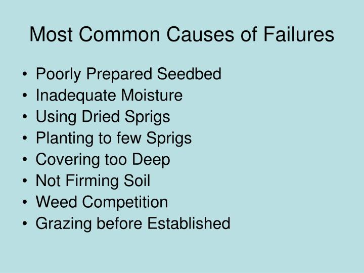 Most Common Causes of Failures